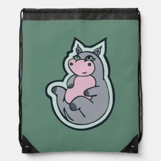 Happy Young Gray Hippo Teal Drawing Design Drawstring Bag