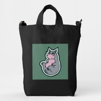 Happy Young Gray Hippo Teal Drawing Design Duck Bag