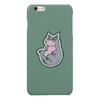 Happy Young Gray Hippo Teal Drawing Design Glossy iPhone 6 Plus Case