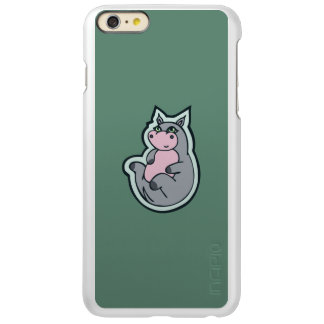 Happy Young Gray Hippo Teal Drawing Design Incipio Feather Shine iPhone 6 Plus Case