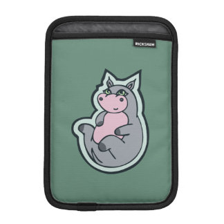 Happy Young Gray Hippo Teal Drawing Design iPad Mini Sleeves