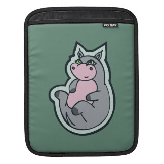 Happy Young Gray Hippo Teal Drawing Design iPad Sleeves