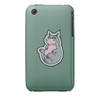 Happy Young Gray Hippo Teal Drawing Design iPhone 3 Case-Mate Case