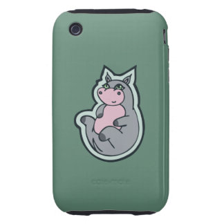 Happy Young Gray Hippo Teal Drawing Design iPhone 3 Tough Cover