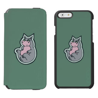 Happy Young Gray Hippo Teal Drawing Design iPhone 6/6s Wallet Case
