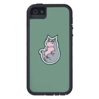 Happy Young Gray Hippo Teal Drawing Design iPhone SE/5/5s Case