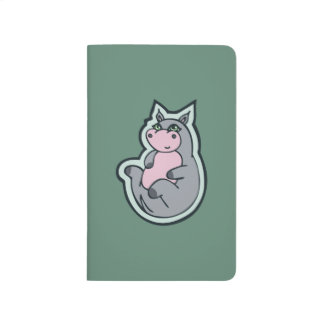 Happy Young Gray Hippo Teal Drawing Design Journal