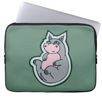 Happy Young Gray Hippo Teal Drawing Design Laptop Sleeve