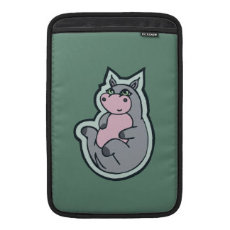 Happy Young Gray Hippo Teal Drawing Design MacBook Air Sleeves