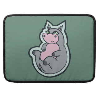 Happy Young Gray Hippo Teal Drawing Design MacBook Pro Sleeve
