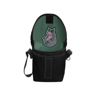 Happy Young Gray Hippo Teal Drawing Design Messenger Bag