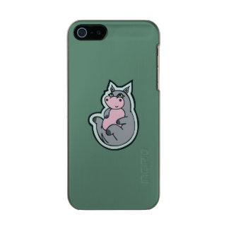 Happy Young Gray Hippo Teal Drawing Design Metallic Phone Case For iPhone SE/5/5s