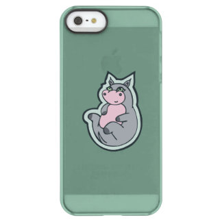 Happy Young Gray Hippo Teal Drawing Design Permafrost iPhone SE/5/5s Case