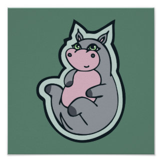 Happy Young Gray Hippo Teal Drawing Design Poster