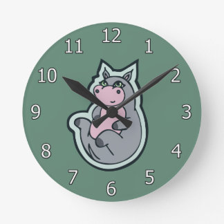 Happy Young Gray Hippo Teal Drawing Design Round Clock