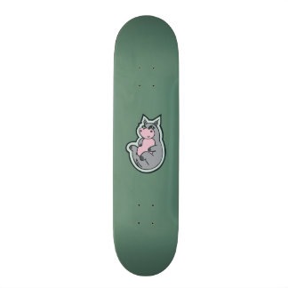 Happy Young Gray Hippo Teal Drawing Design Skateboard Deck