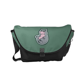 Happy Young Gray Hippo Teal Drawing Design Small Messenger Bag