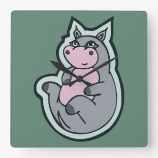 Happy Young Gray Hippo Teal Drawing Design Square Wall Clock