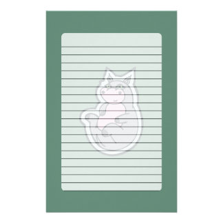 Happy Young Gray Hippo Teal Drawing Design Stationery