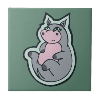 Happy Young Gray Hippo Teal Drawing Design Tile