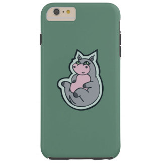 Happy Young Gray Hippo Teal Drawing Design Tough iPhone 6 Plus Case