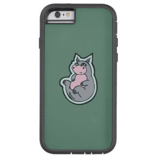 Happy Young Gray Hippo Teal Drawing Design Tough Xtreme iPhone 6 Case