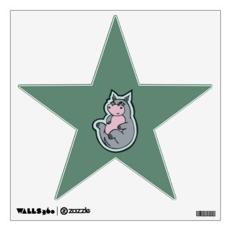 Happy Young Gray Hippo Teal Drawing Design Wall Decal