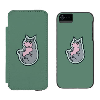 Happy Young Gray Hippo Teal Drawing Design Wallet Case For iPhone SE/5/5s