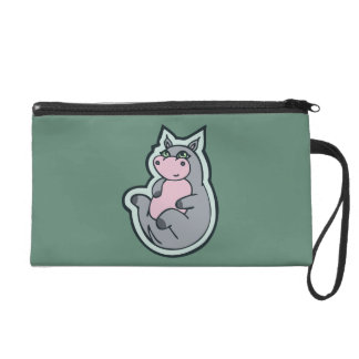 Happy Young Gray Hippo Teal Drawing Design Wristlet Purse