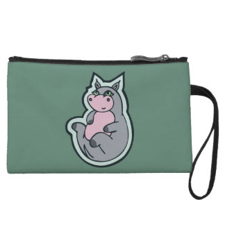 Happy Young Gray Hippo Teal Drawing Design Wristlet Wallet
