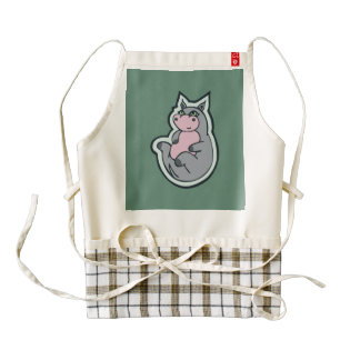 Happy Young Gray Hippo Teal Drawing Design Zazzle HEART Apron