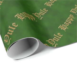 Happy Yule Green and Gold Pagan Wrapping Paper