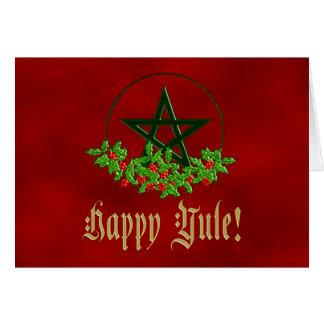 Happy Yule Holly Pentacle Card