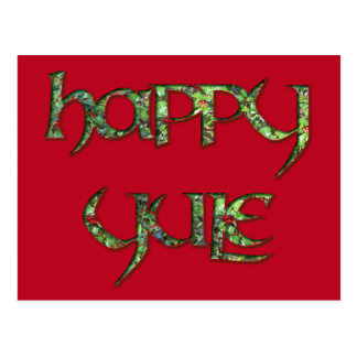 Happy Yule Holly Postcard