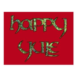 Happy Yule Holly Postcard
