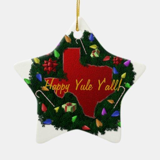 Happy Yule Y'all Texas Christmas Ornament