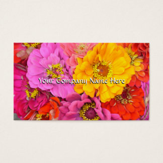 Happy Zinnias Customizable Business Card