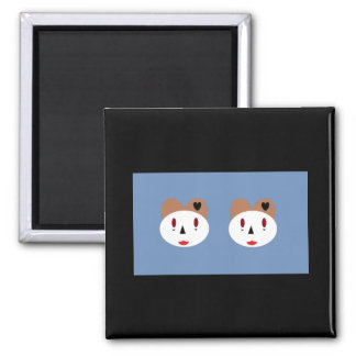 Happy Zombie Bears 2 Inch Square Magnet