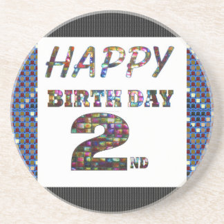HappyBirthday 2nd Text Beverage Coasters