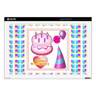 "HappyBIRTHDAY Cake Balloon n Text 17"" Laptop Decal"