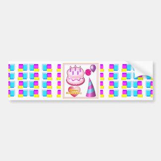 HappyBIRTHDAY Cake Balloon n Text Bumper Stickers