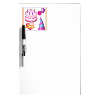 HappyBIRTHDAY Cake Balloon n Text Dry-Erase Board