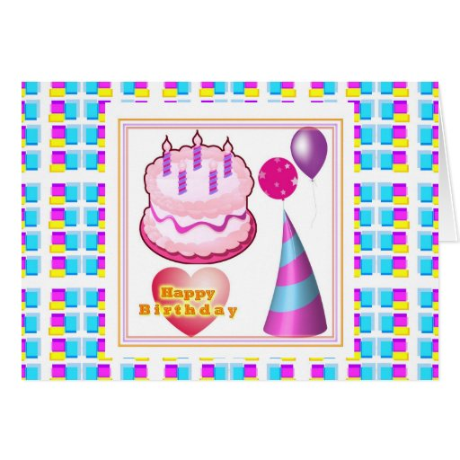 HappyBIRTHDAY Cake Balloon n Text Greeting Card