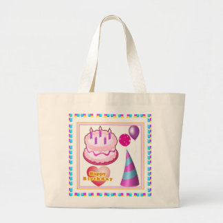 HappyBIRTHDAY Cake Balloon n Text Large Tote Bag