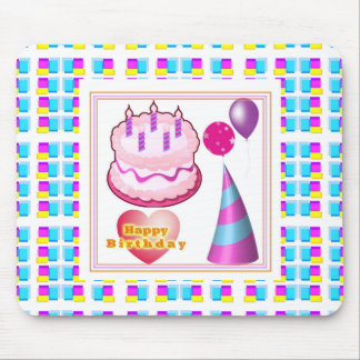 HappyBIRTHDAY Cake Balloon n Text Mouse Pad
