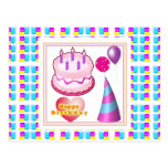HappyBIRTHDAY Cake Balloon n Text Postcard