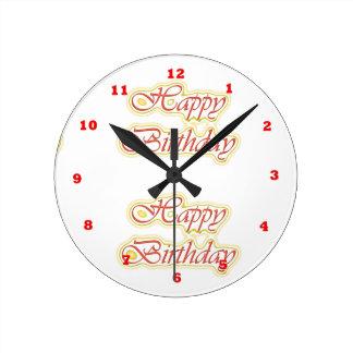 HappyBirthday Happy Birthday  ELEGANT Script Round Wall Clocks