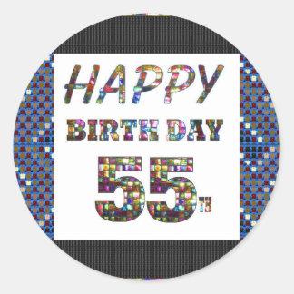 happybirthday happy birthday greeting 55 55th classic round sticker