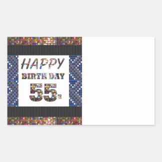 happybirthday happy birthday greeting 55 55th rectangular sticker