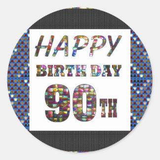 happybirthday happy birthday greeting 90 90th classic round sticker